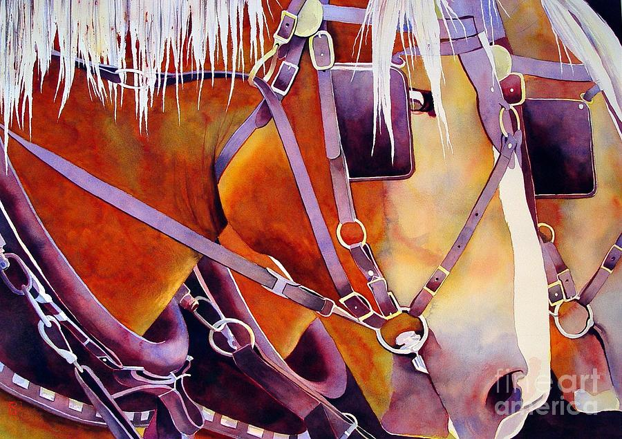Watercolor Painting - Farm Horses by Robert Hooper