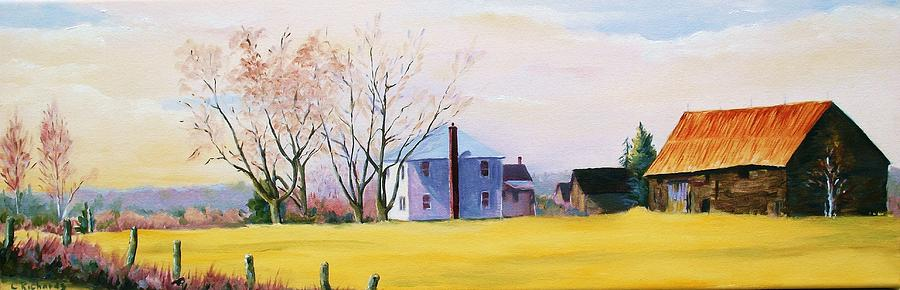 Landscape Painting - Farm In Spring by Cathleen Richards-Green