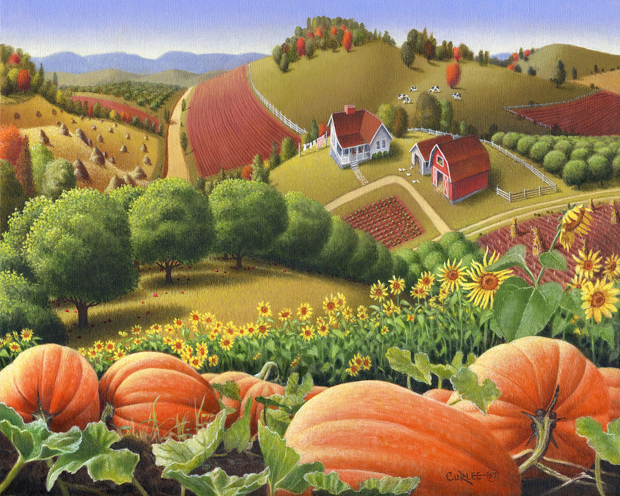 Pumpkin Painting - Farm Landscape - Autumn Rural Country Pumpkins Folk Art - Appalachian Americana - Fall Pumpkin Patch by Walt Curlee