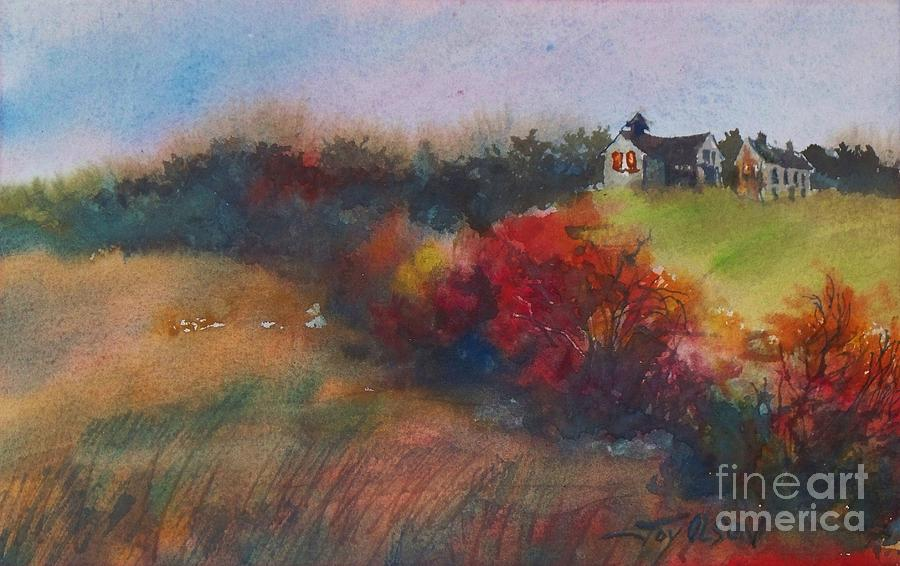Rural Painting - Farm On The Hill At Sunset by Joy Nichols
