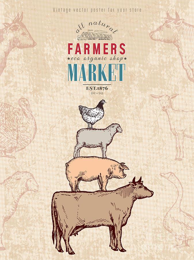Farmers Market Digital Art - Farm Shop Vintage Poster Retro Butcher by Intueri