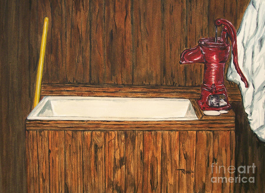 Pump Painting - Farm Sink by Regan J Smith