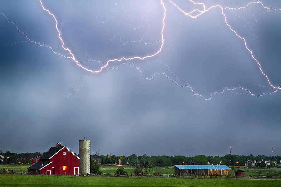 Lightning Photograph - Farm Storm Hdr by James BO  Insogna