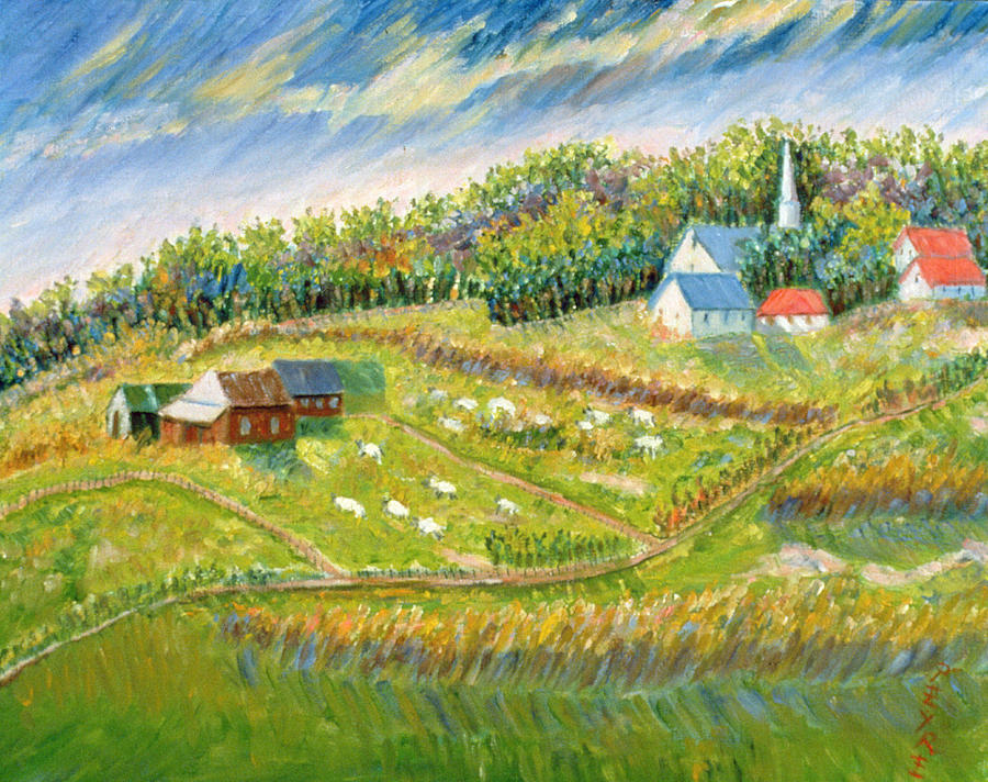Landscape Painting - Farm With Sheep by Patricia Eyre