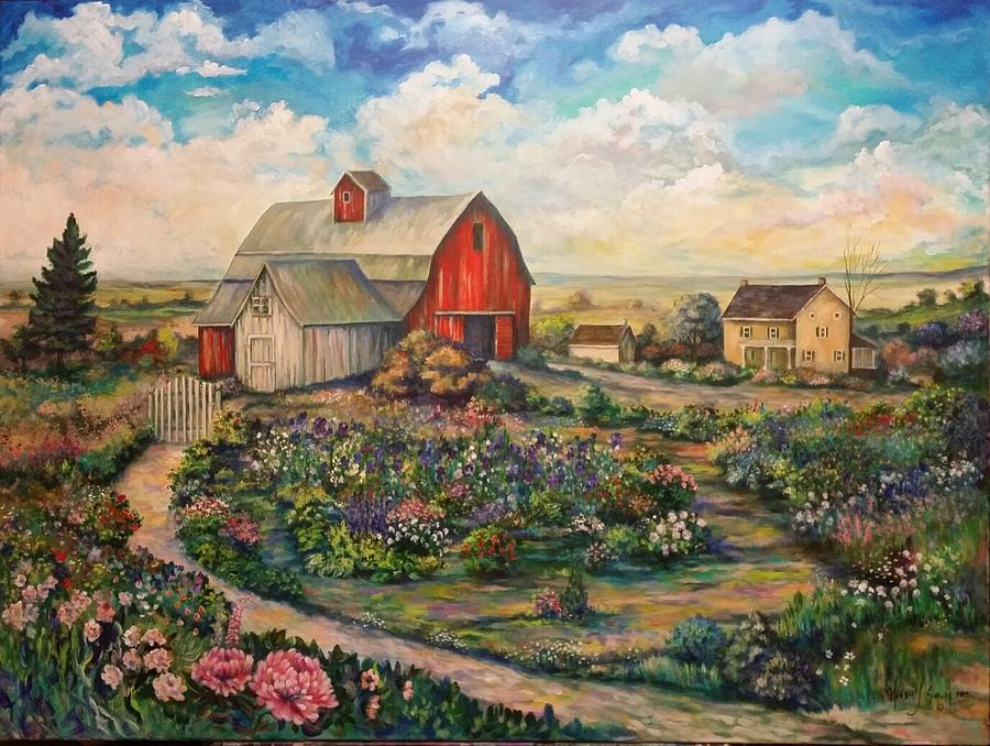 Landscapes Painting - Farm Woman by Kendra Sorum
