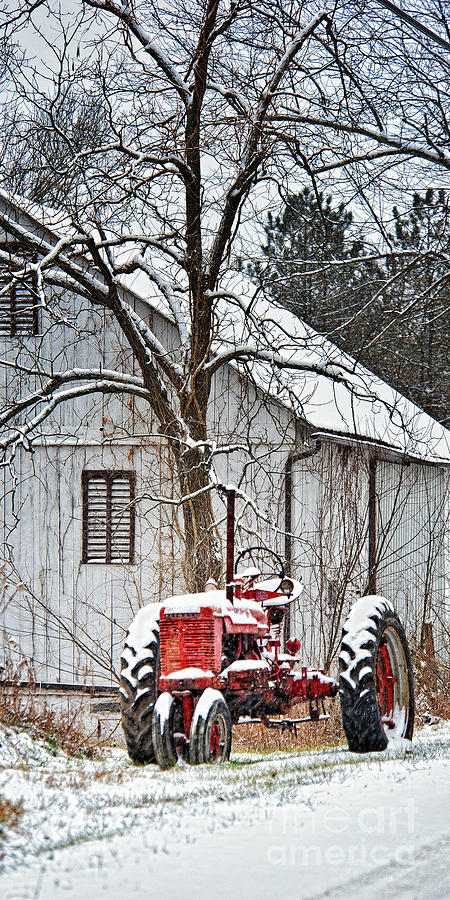 Farmall Tractor Photograph - Farmall Tractor In Winter by Timothy Flanigan