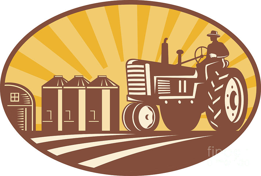 Farmer Digital Art - Farmer Driving Vintage Tractor Retro Woodcut by Aloysius Patrimonio