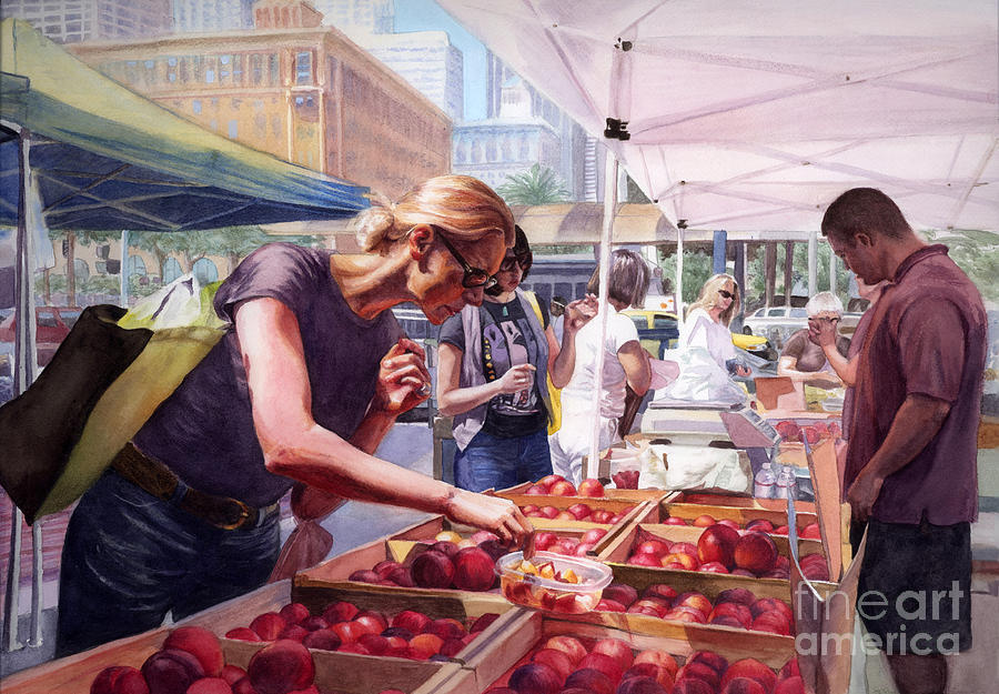San Francisco Painting - Farmers Market by Isabella Kung