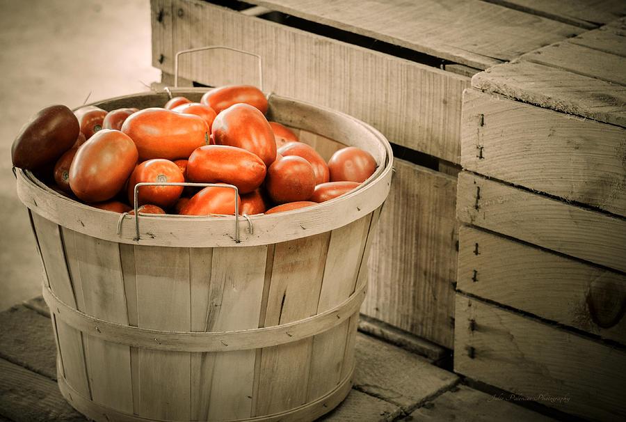 Bushel Photograph - Farmers Market Plum Tomatoes by Julie Palencia