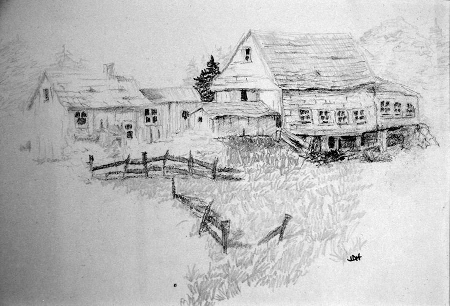 Farmhouse And Barn Drawing By Joseph Hawkins