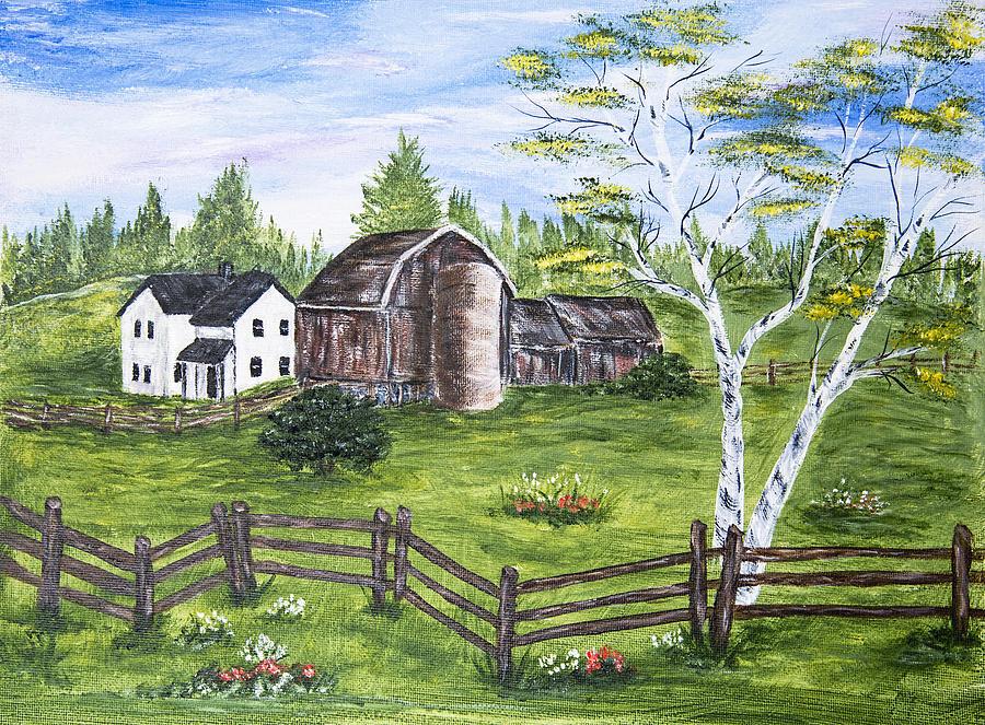 Farmhouse Painting - Farmhouse And Barns by Carole F Perrine