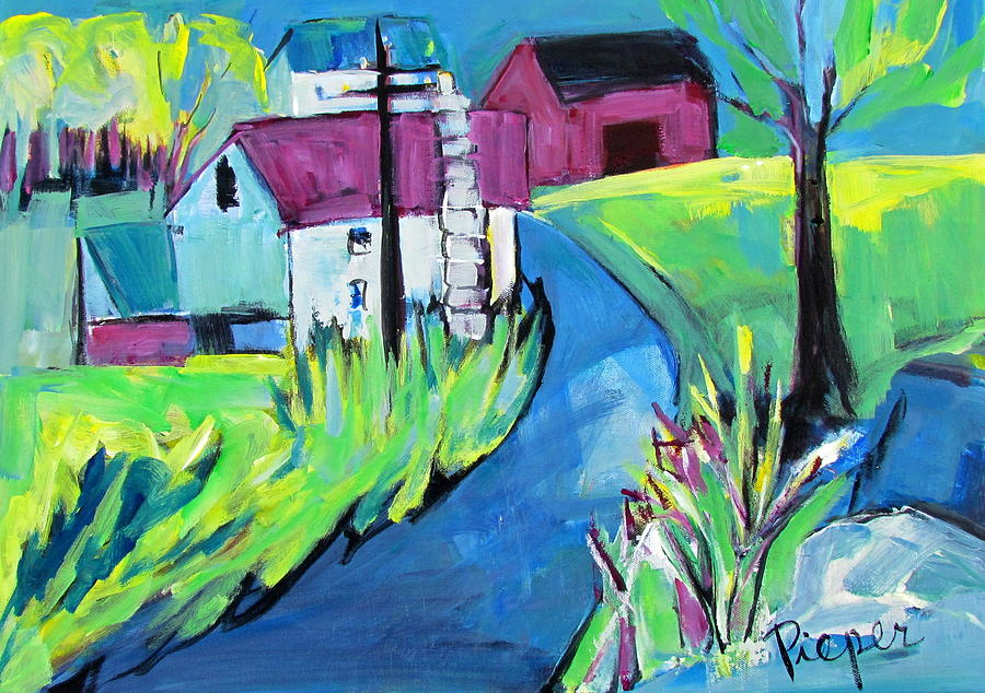 Farmhouse Down My Road in Spring by Betty Pieper