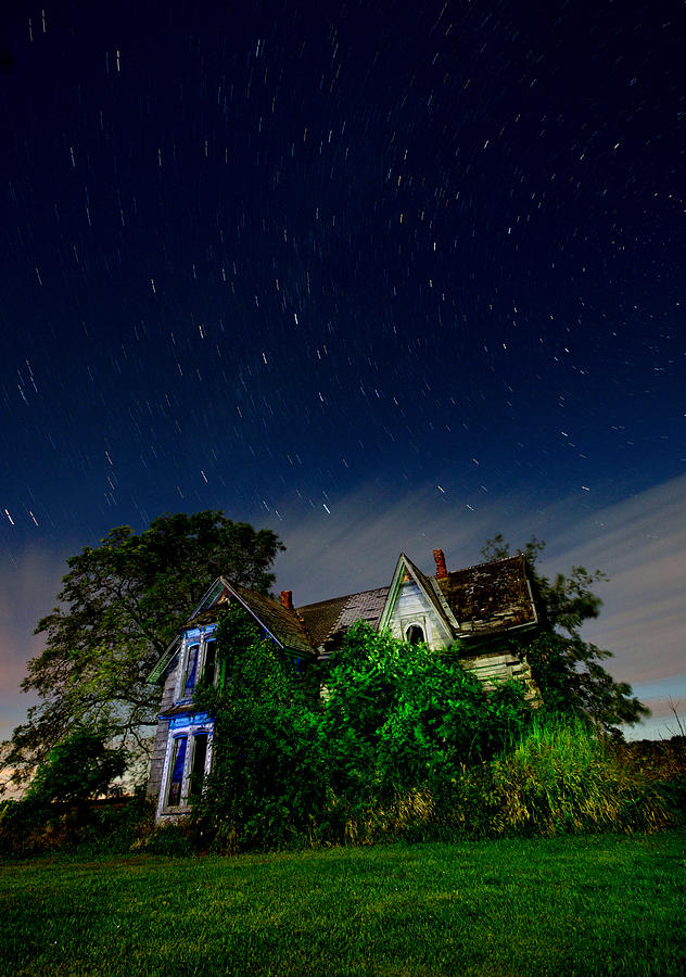 Abandoned Photograph - Farmhouse Star Trails.  by Cale Best