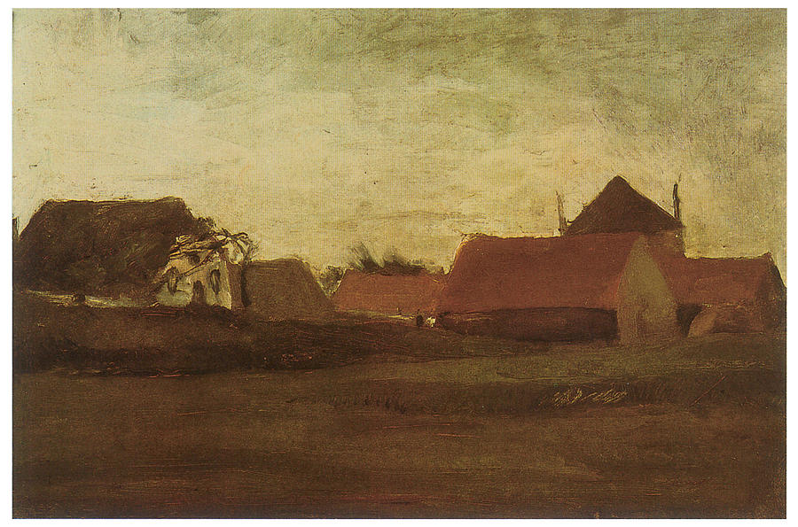 Vincent Van Gogh Drawing - Farmhouses In Loosduinen Near The Hague At Twilight by Vincent van Gogh