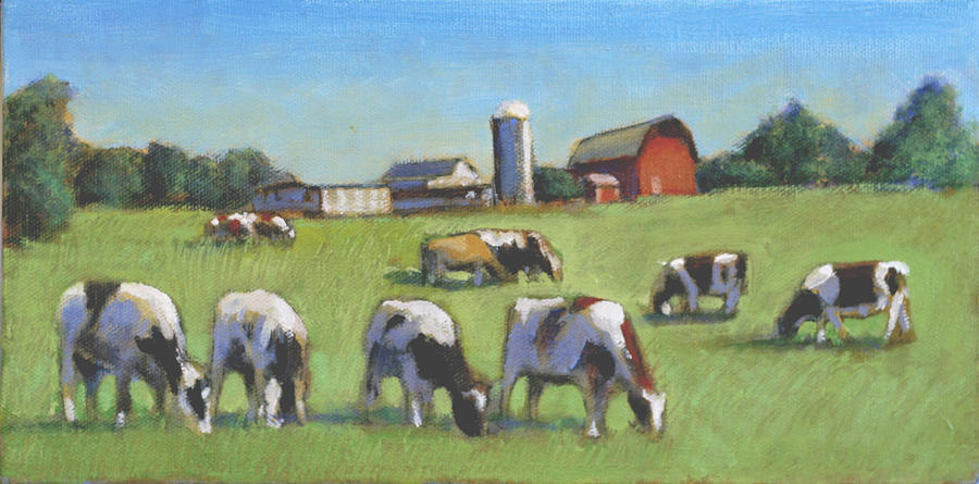 Dairy Cow Painting Painting - Farming In The Dell by David Zimmerman