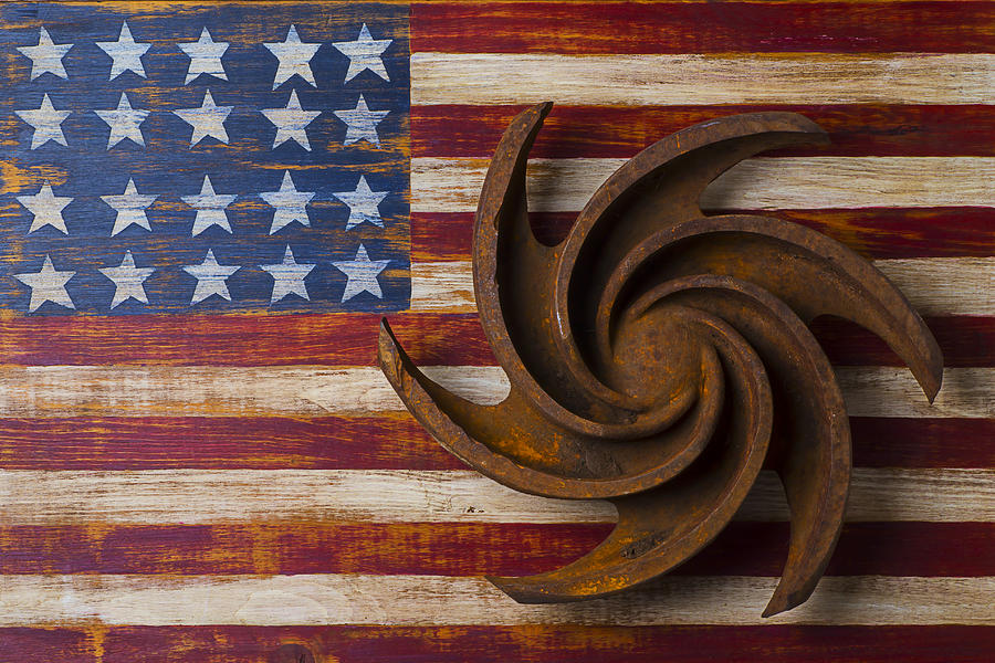 Agriculture Photograph - Farming Tool On American Flag by Garry Gay