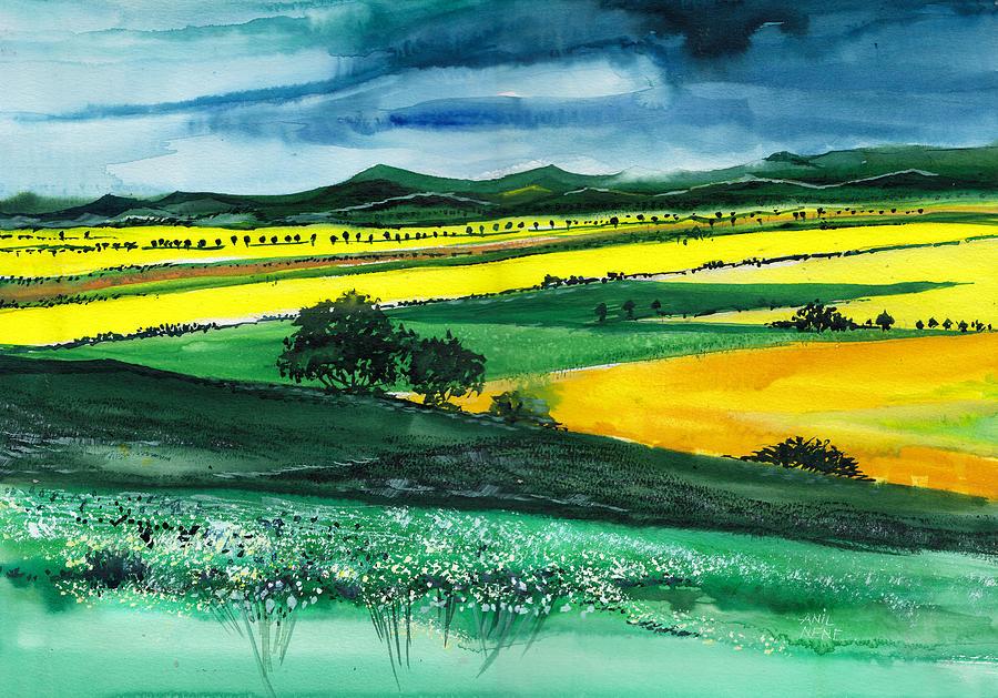 Nature Painting - Farmland 1 by Anil Nene