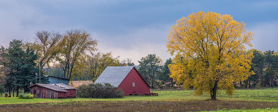 Landscape Photograph - Farmstead With Fall Colors by Paul Freidlund