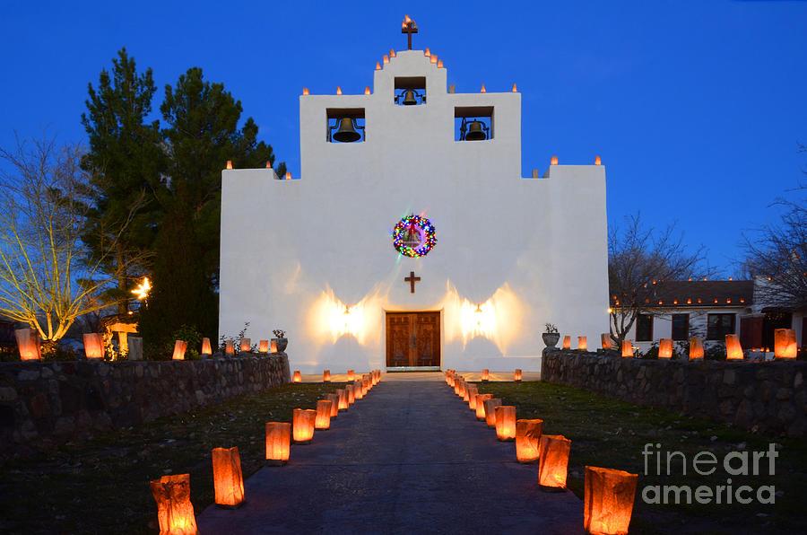 Luminaria Photograph - Farolitos Saint Francis De Paula Mission by Bob Christopher