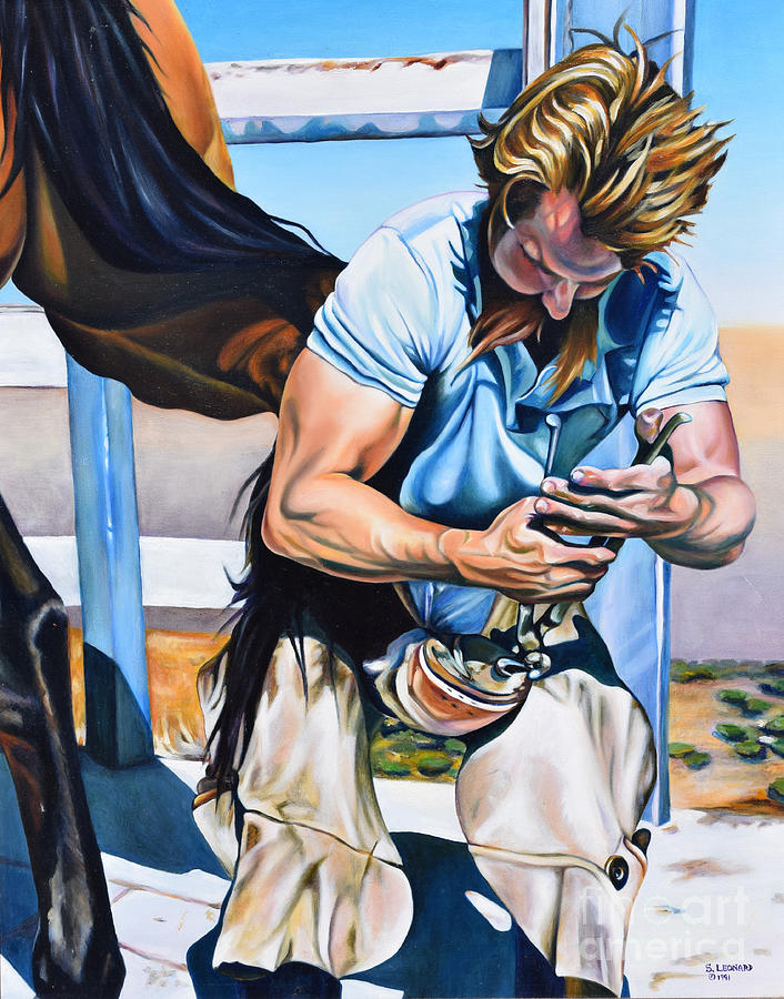 Farrier Painting - Farrier At Work by Suzanne Leonard