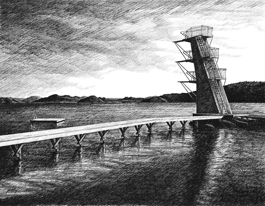 Diving Board Drawing - Farsund Badehuset In Ink by Janet King