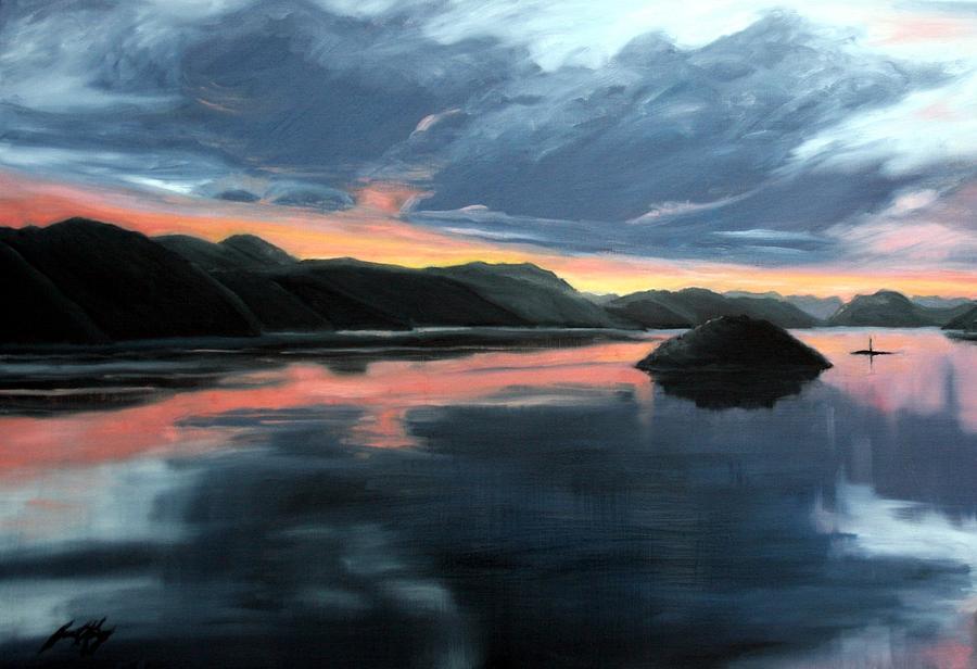 Sunrise Painting - Farsund Sunrise by Janet King