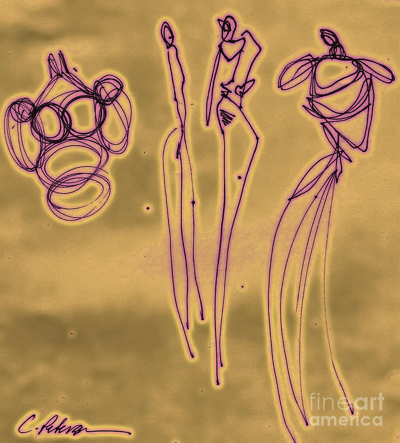 Figures Drawing - Fashion Graffiti In Purple Gold by Cathy Peterson