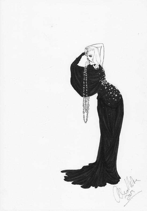 fashion illustration black evening gown drawing by alex newton