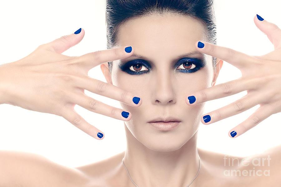 Fashion Model With Blue Nail Polish Photograph by Lars Zahner