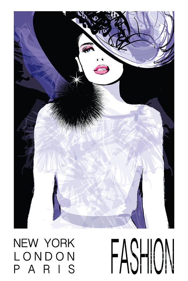 Dress Digital Art - Fashion Woman Model With A Black Hat - by Isaxar