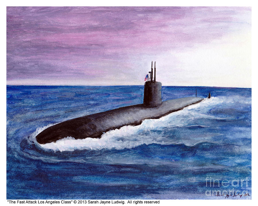 Los Angeles Class Submarine Painting - Fast Attack Los Angeles Class Version 1 by Sarah Howland-Ludwig