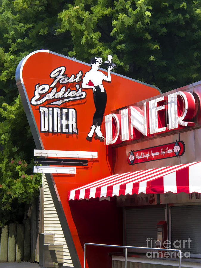 Diner Painting - Fast Eddies Diner Art Deco Fifties by Edward Fielding