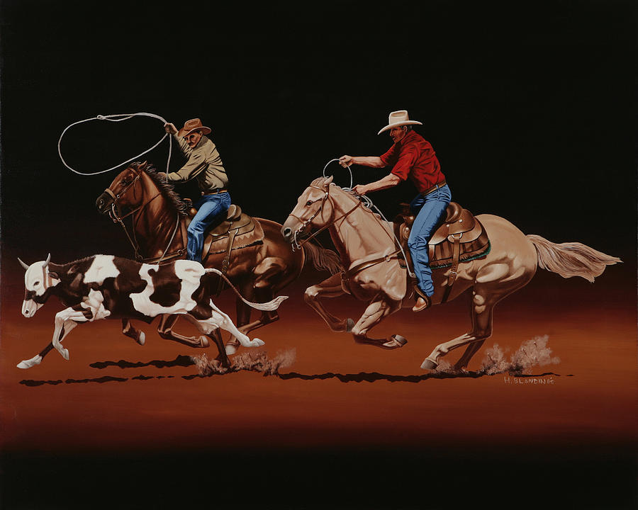 Header Painting - Fast Horses And Sure Ropes by Hugh Blanding
