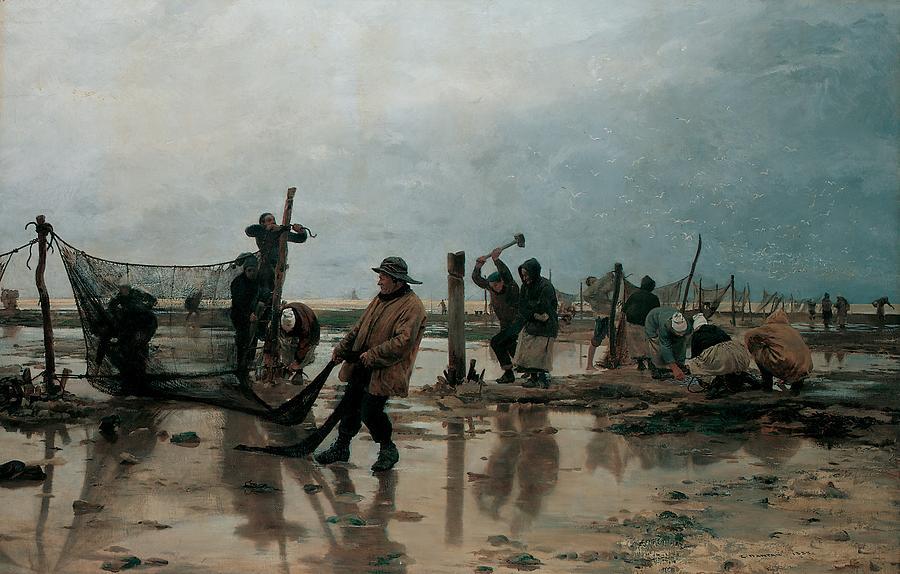 Sea Painting - Fastening The Nets by Edouard Joseph  Dantan