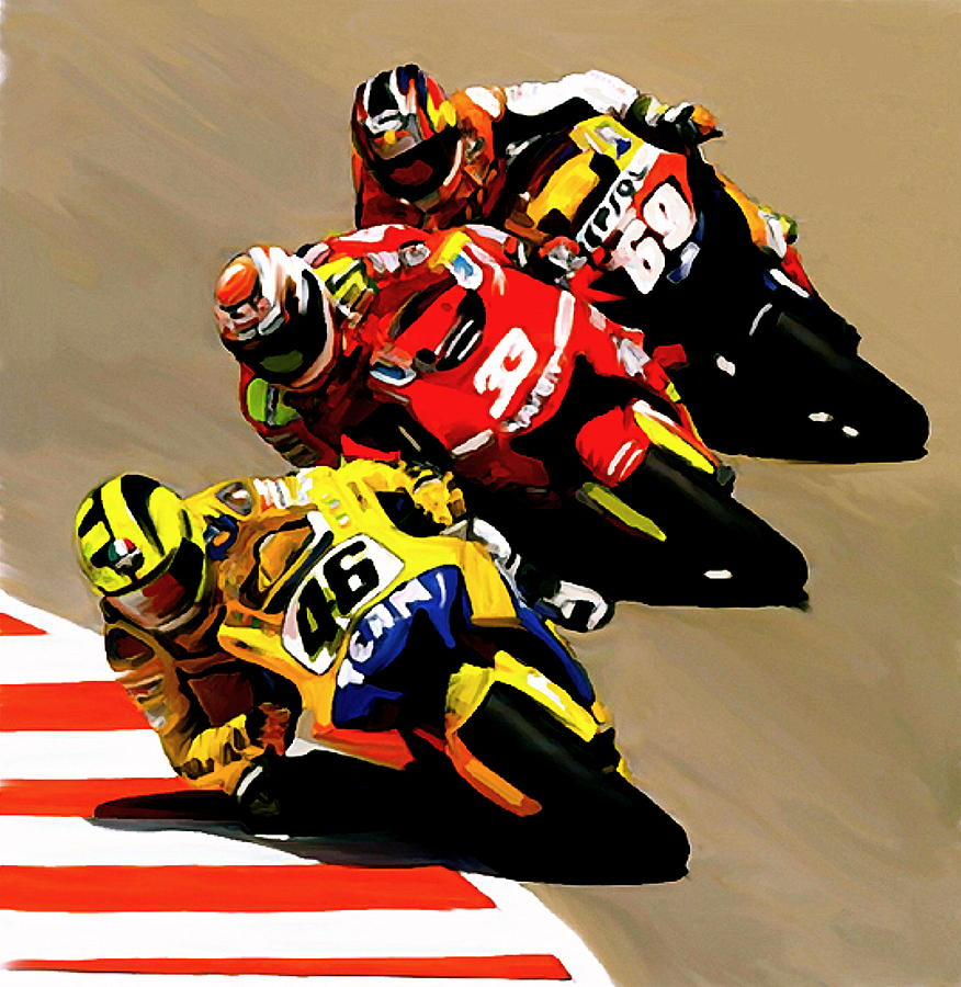 Valentino Rossi Painting by Iconic Images Art Gallery David – Valentino Rossi Birthday Card