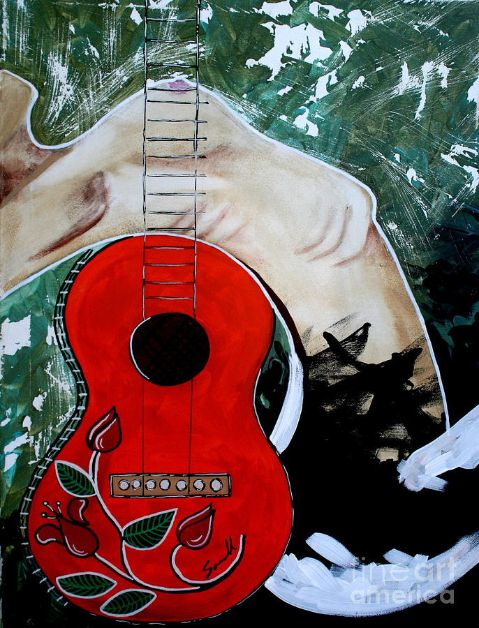 Guitar Painting - Fat Bottom Girls You Make This Rocking World Go Round by Amy Sorrell