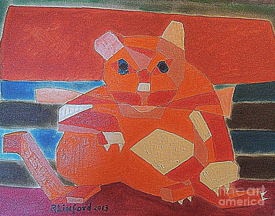 Fat Painting - Fat Cat On A Hot Chaise Lounge by Richard W Linford