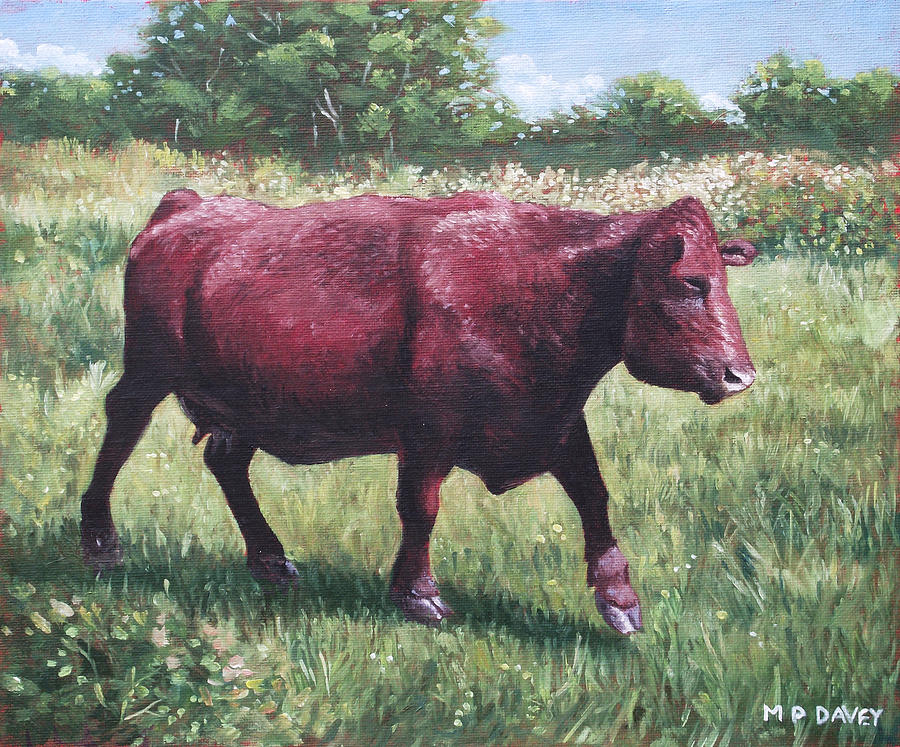 Cow Painting - Fat Cow Running by Martin Davey