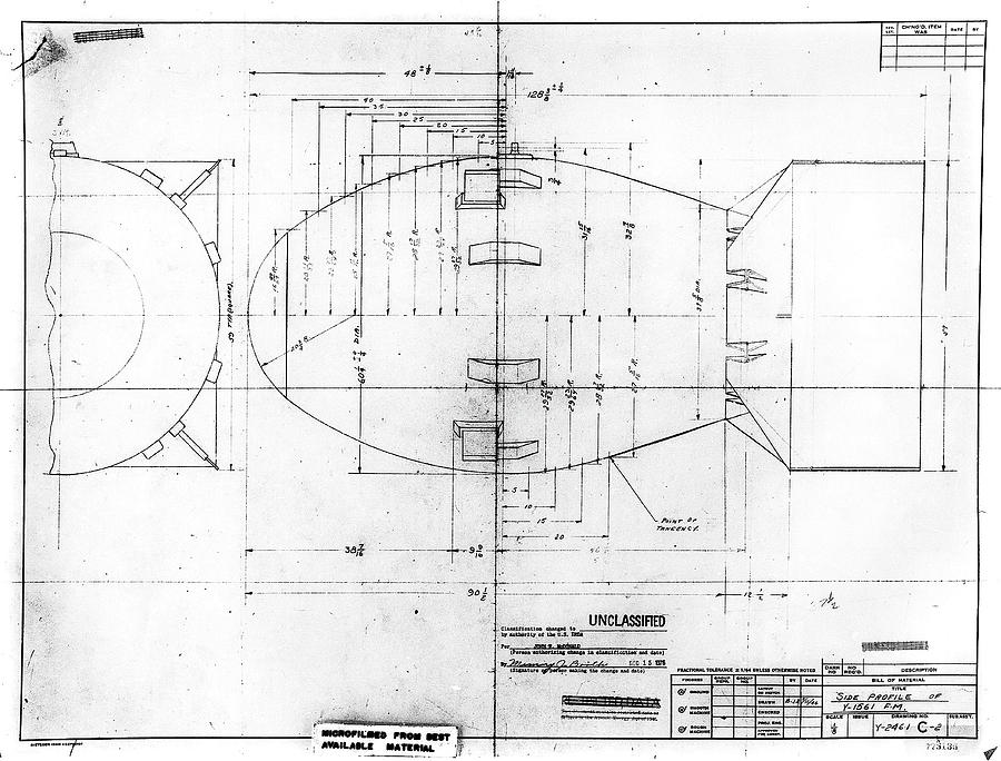 Fat man atomic bomb blueprint photograph by los alamos national fat man photograph fat man atomic bomb blueprint by los alamos national laboratory malvernweather Gallery