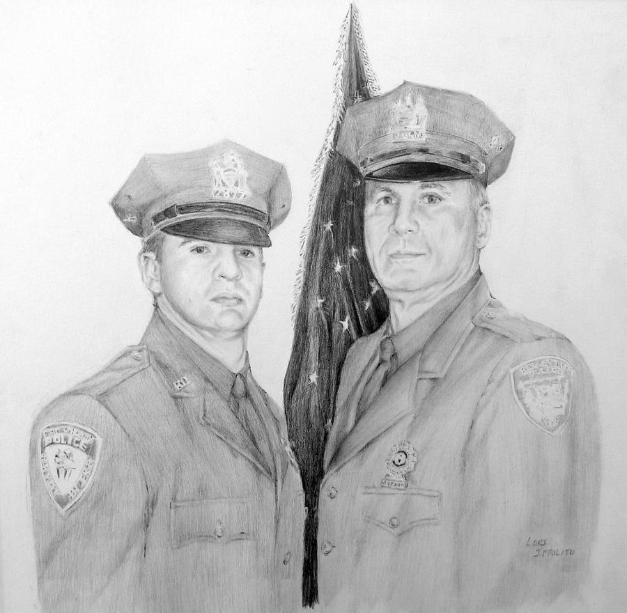 Law Enforcement Drawing - Father And Son by Lori Ippolito