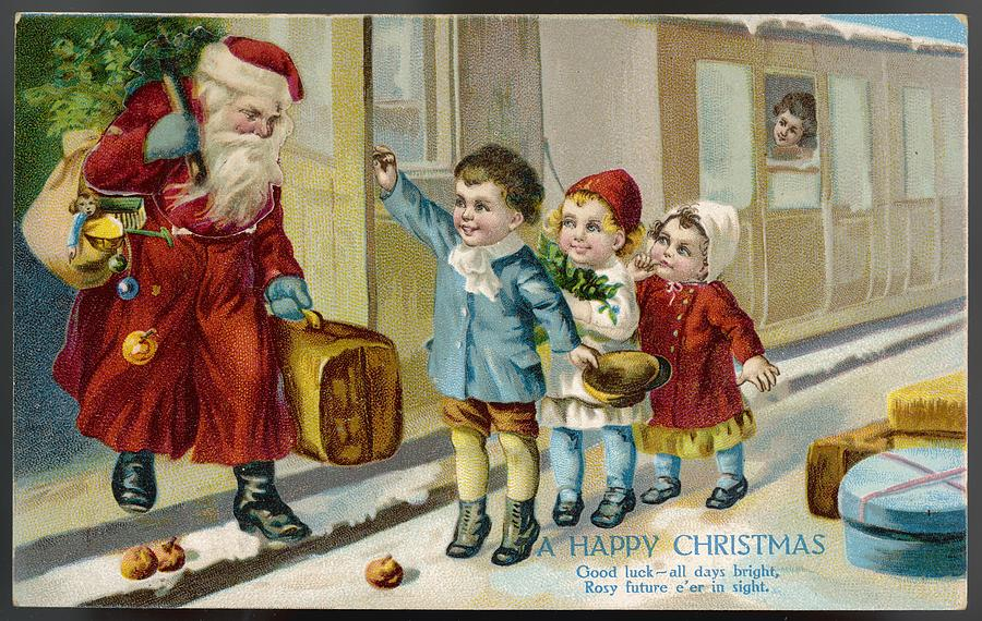 Santa Arrives When Happy Thanksgiving >> Father Christmas Arrives By Train Drawing By Mary Evans Picture
