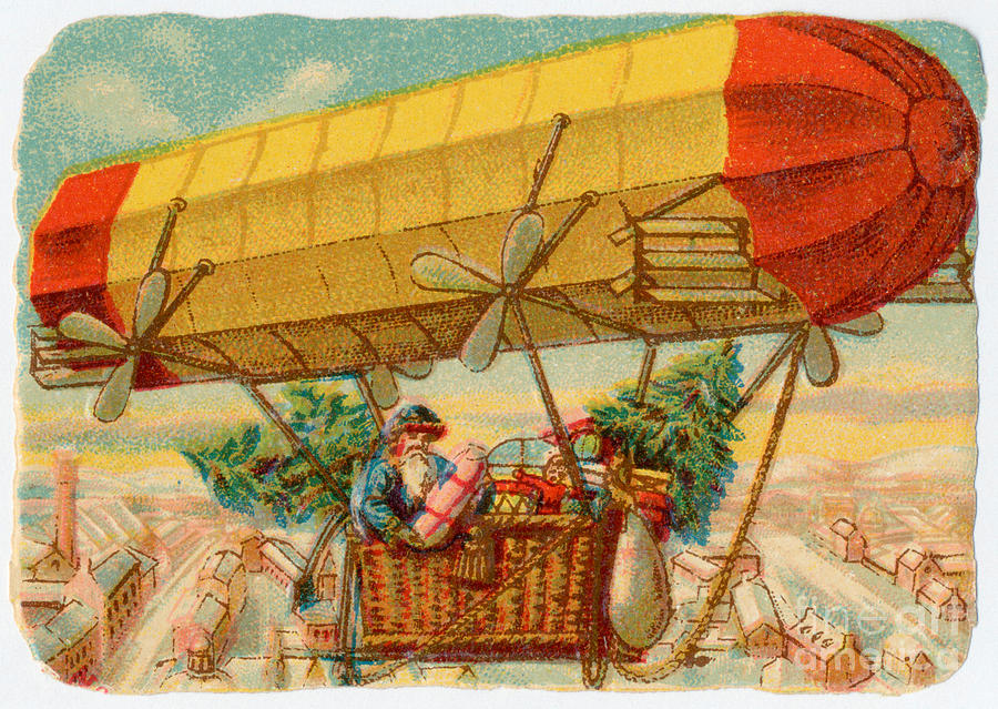 History Photograph - Father Christmas In Airship by Mary Evans