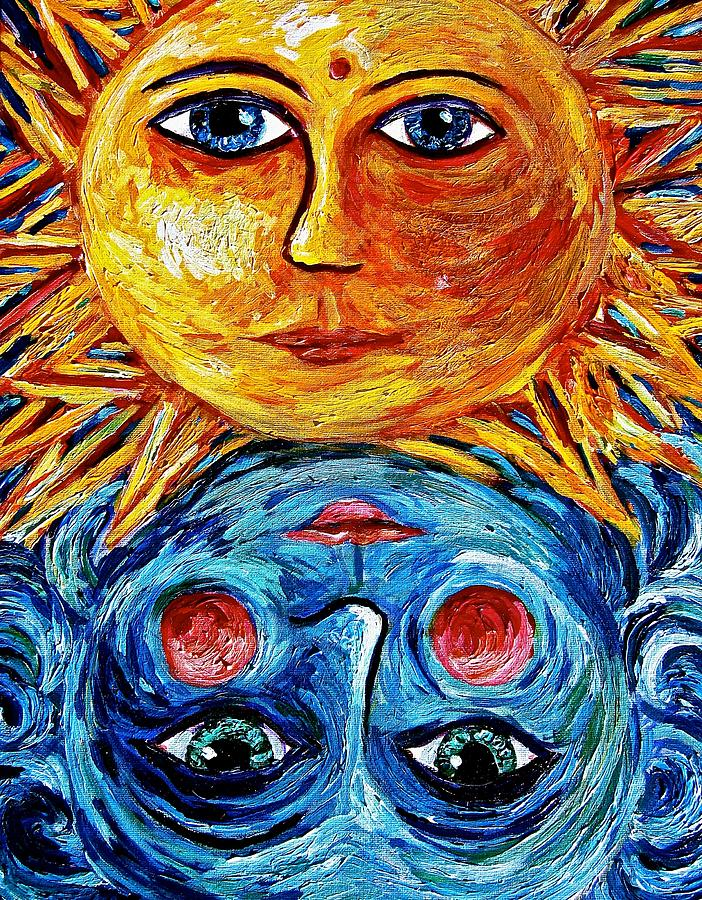Sun Painting - Father Sun And Mother Moon by Sebastian Pierre