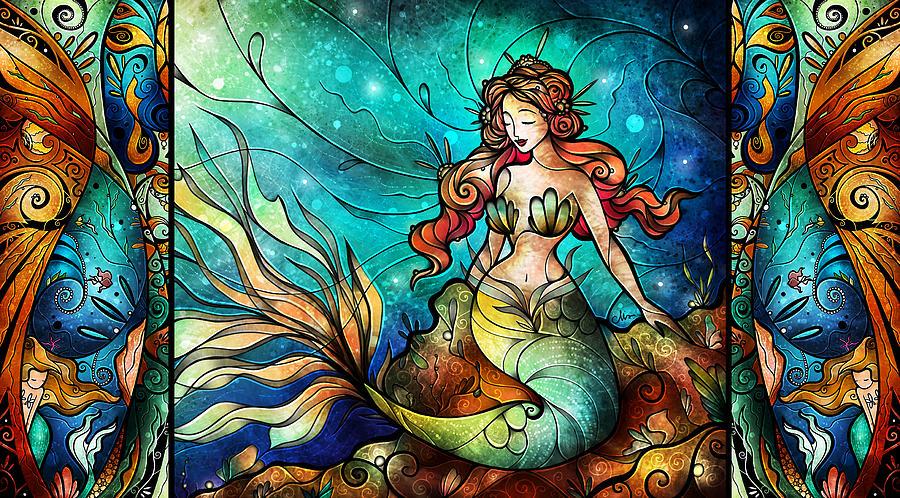 Mermaid Mixed Media - The Serene Siren Triptych by Mandie Manzano
