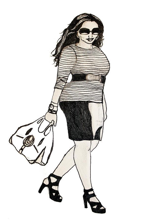 Fashion Digital Art - Fatshionista #1 by Micaela Shambee