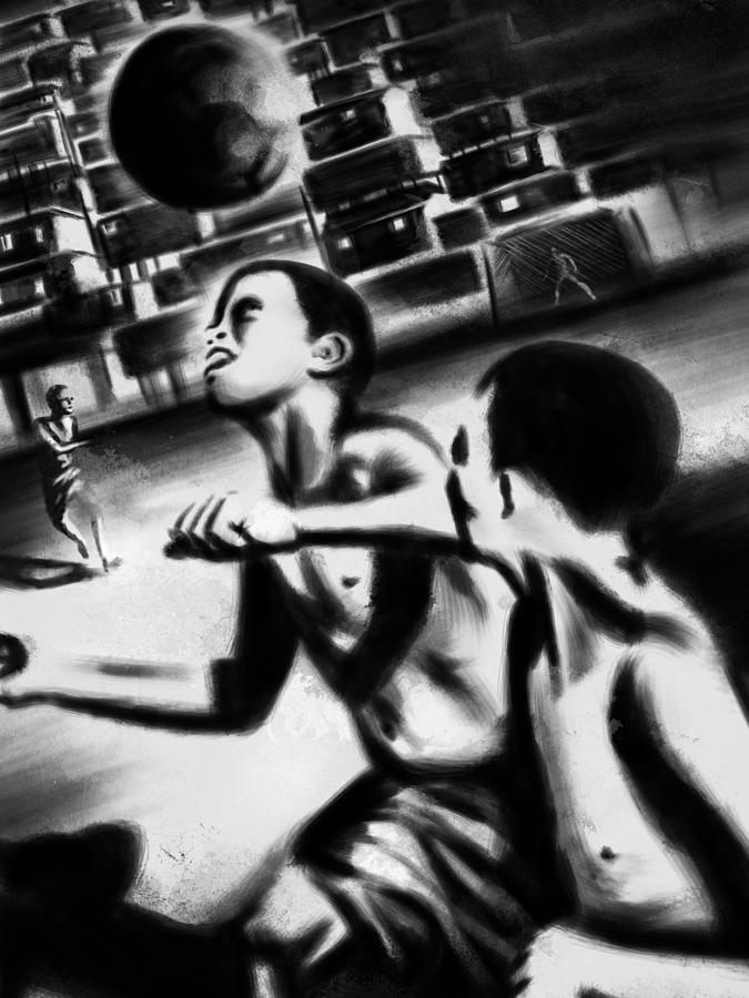 Favela Soccer Brasil Art Black White Slam Painting Brush Texture Famous Portrait Nude Sexy Colors Monet Vangogh Arte America Love Geometric Decorative Wall Life Sports Ball Beauty Sky Landscape Love Light Popart Pop Picture Painting - Favela Soccer Brazil 1 by Francisco Valle
