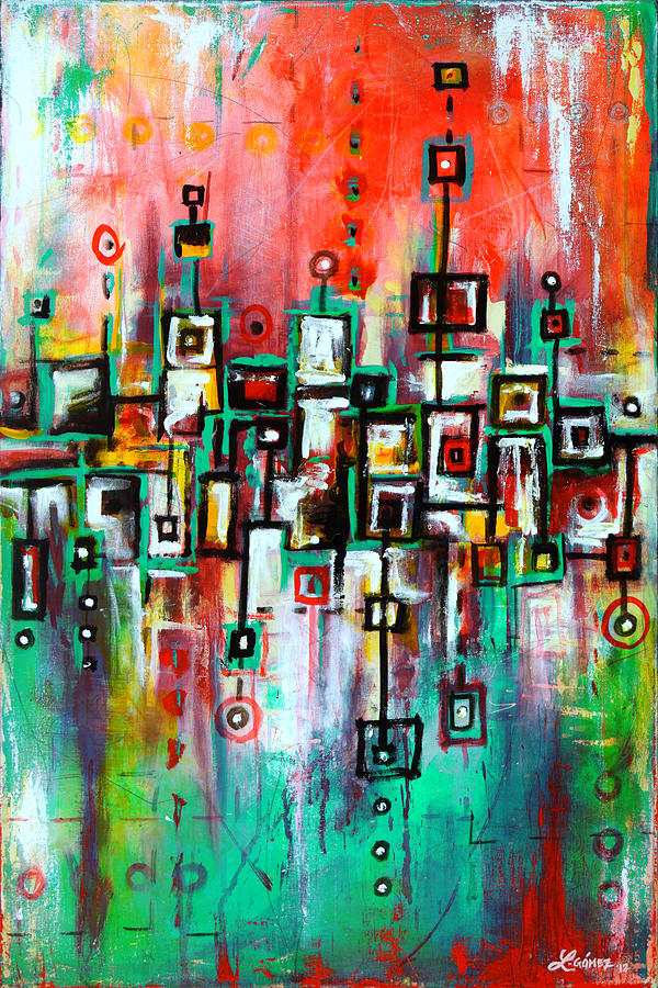 Favelas Abstract Art By Laura Gomez Painting By Laura Gomez