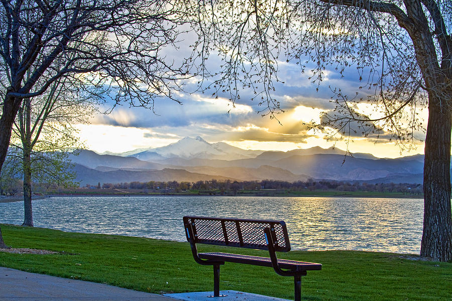 Longs Peak Photograph - Favorite Bench And Lake View by James BO  Insogna