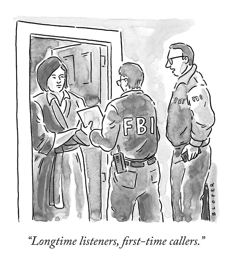 Fbi Agents At A Womans Door Drawing by Brendan Loper