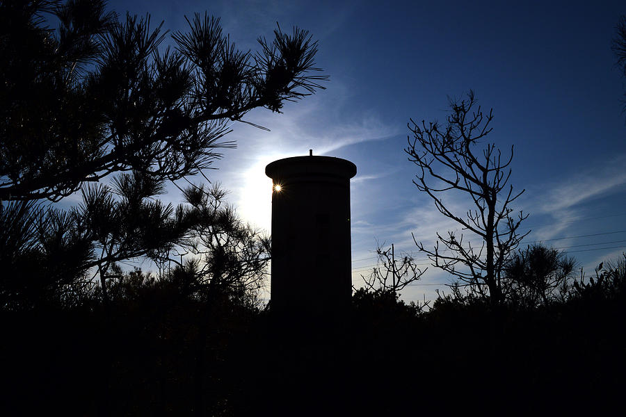 Silhouette Photograph - Fct1 Fire Control Tower 1 In Silhouette by Bill Swartwout Photography